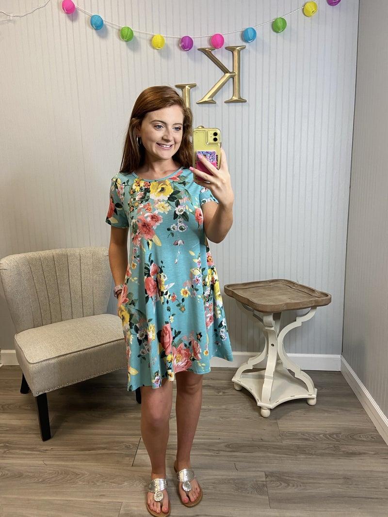 Mint & Coral Floral Dress