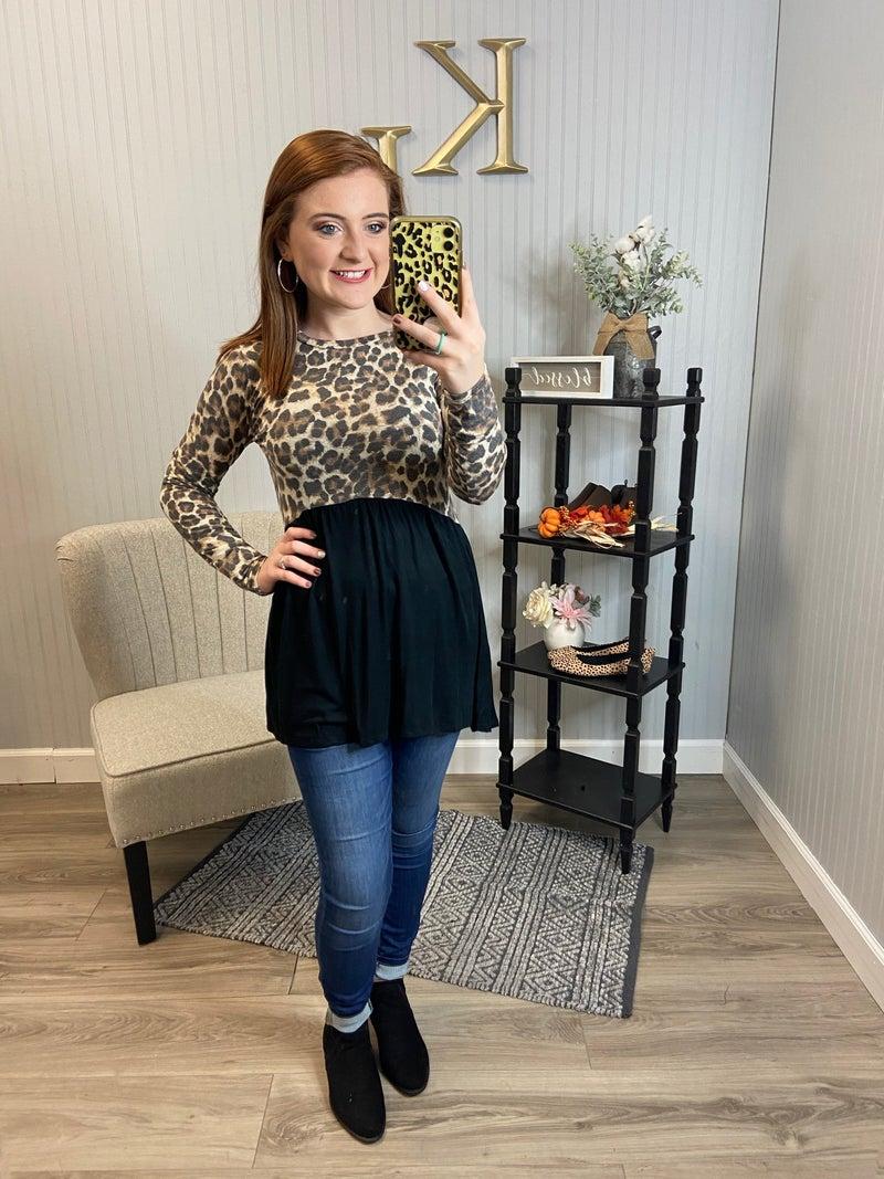 Black Half Leopard Top