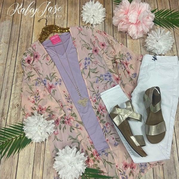 PR Rose & Lavender Floral Kimono