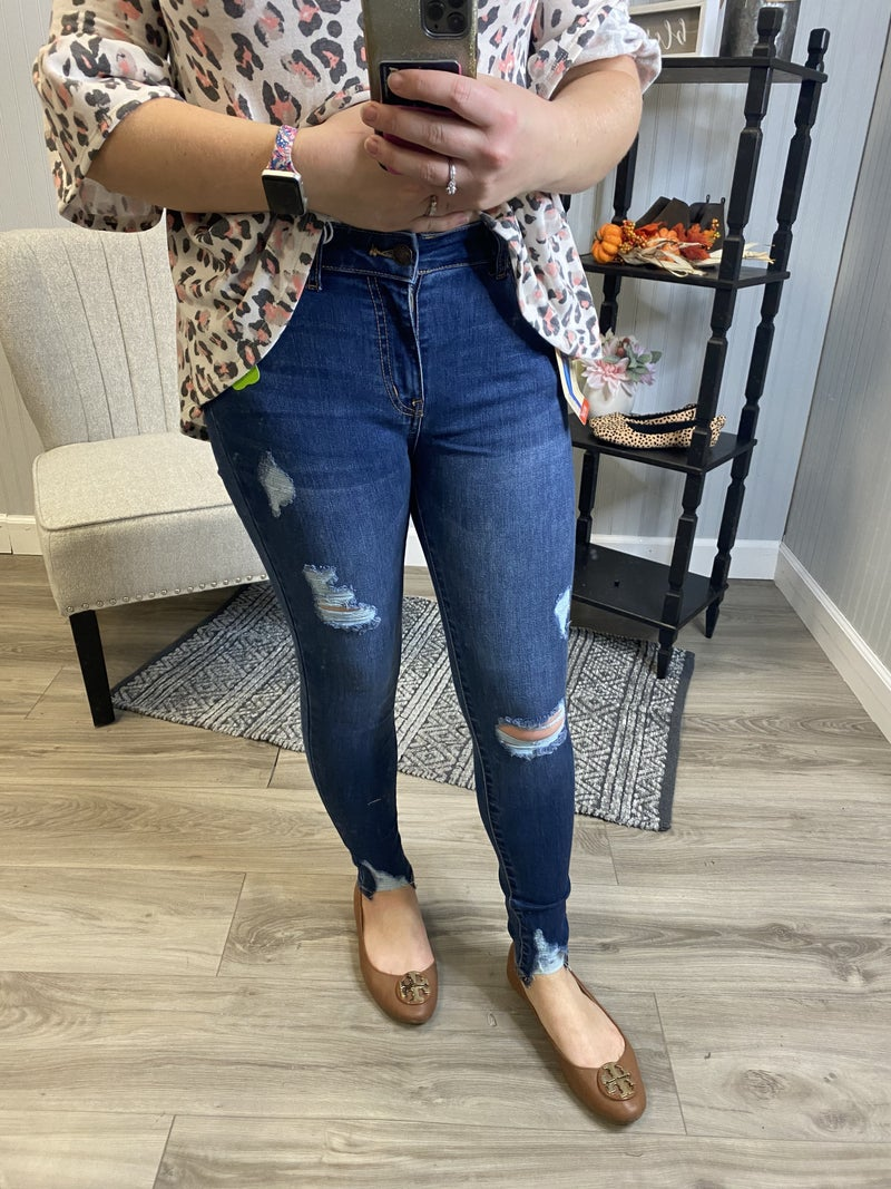 Push Up Dark Wash Ripped Jeans