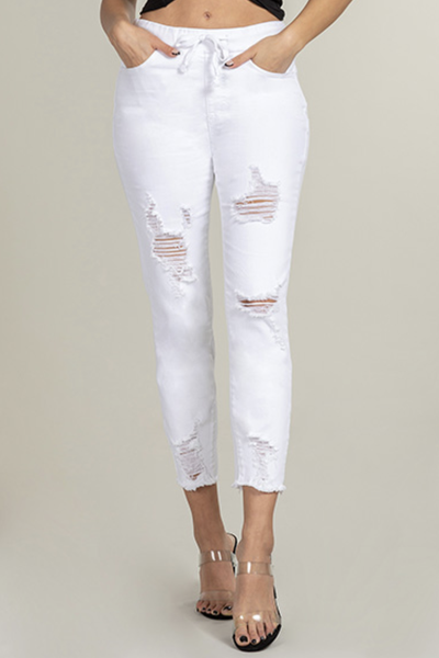 YMI White Ripped Jogger Pull On Jeans