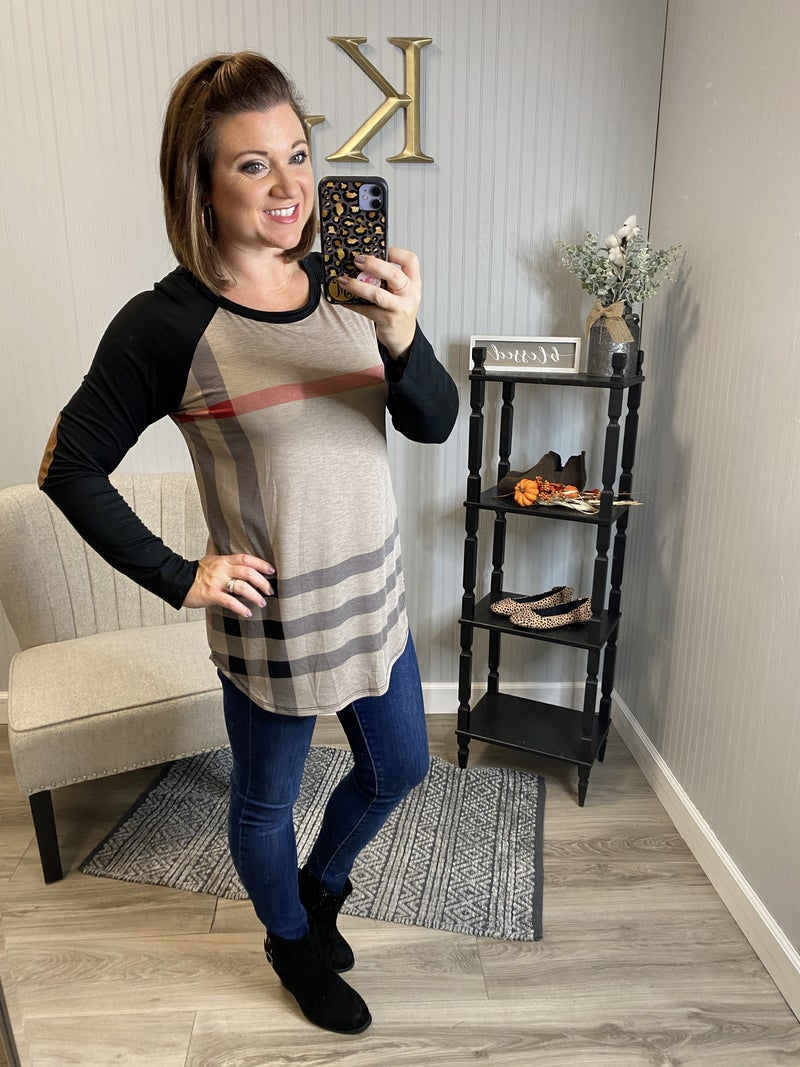 Mocha Plaid Suede Patch Sleeve Top