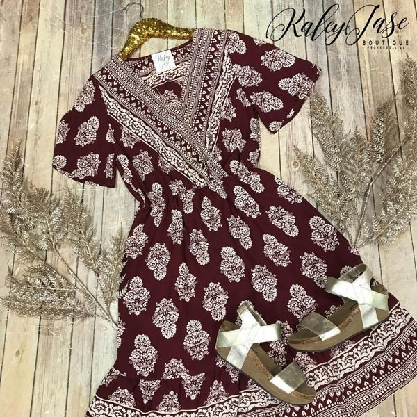Wine Design Wrap Dress
