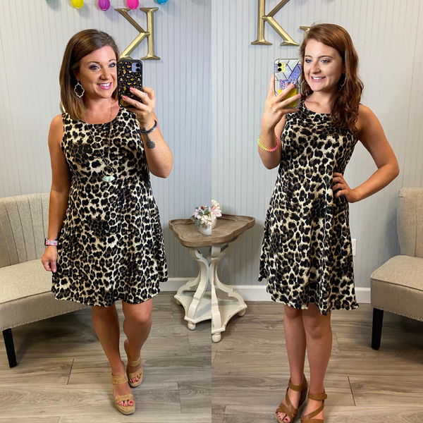 Fall Leopard Sleeveless Swing Dress