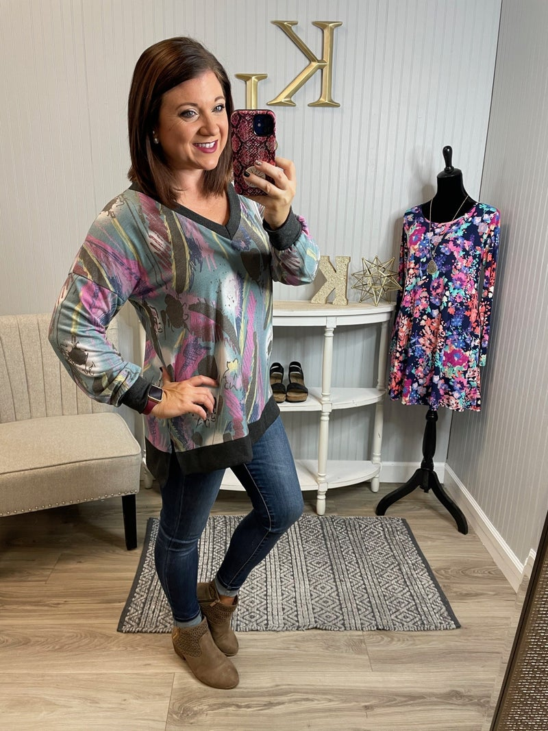 SIL Teal Charcoal Splatter Design V Top *Final Sale*