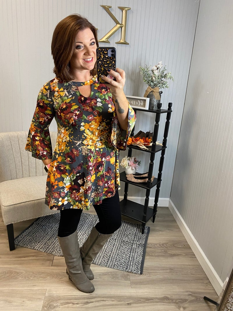 Charcoal Floral Keyhole Bell Sleeve Top