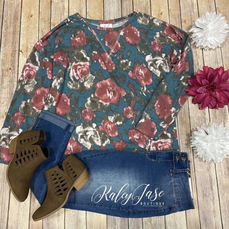 SIL Teal Rose Floral Painted Raglan Top *Final Sale*