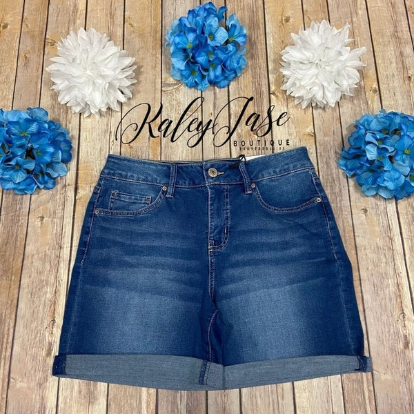 Royalty Medium Wash Tummy Control High Rise Shorts