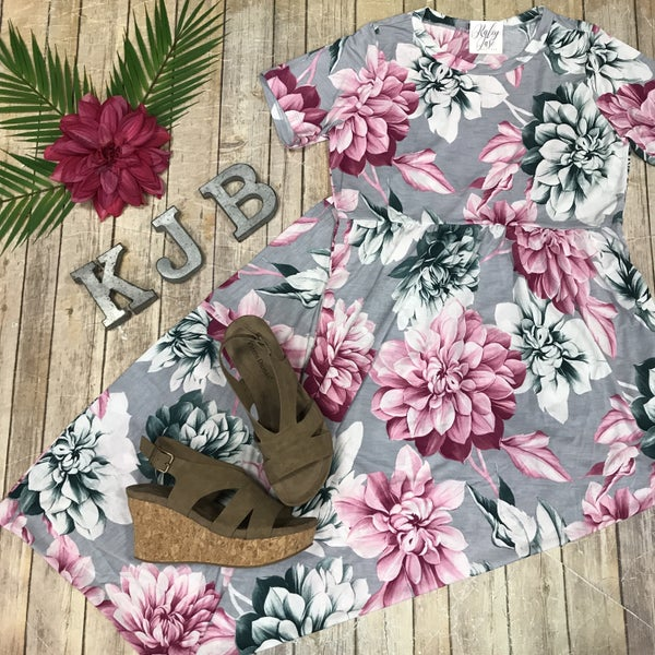 Grey & Pink Floral Maxi