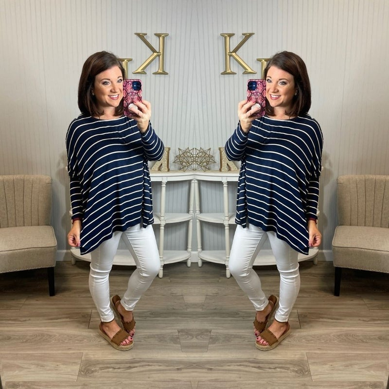 HM Navy Nautical Oversized Striped Top