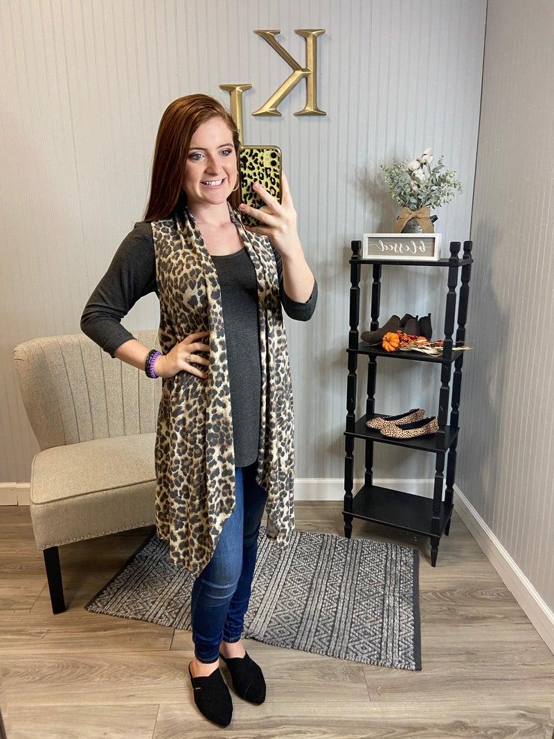 Leopard Draped Vest