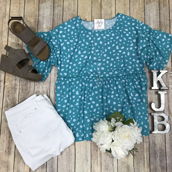 Jade/Mint Peplum Ruffle Sleeve