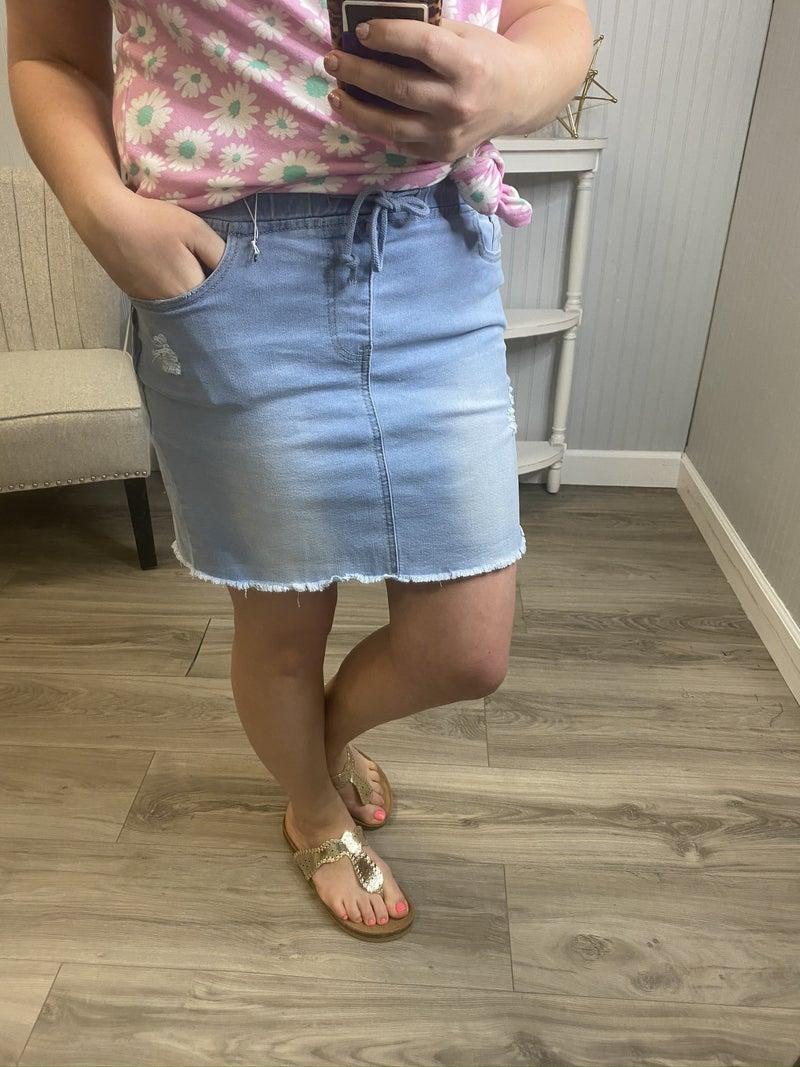 YMI Denim Jogger Skirt
