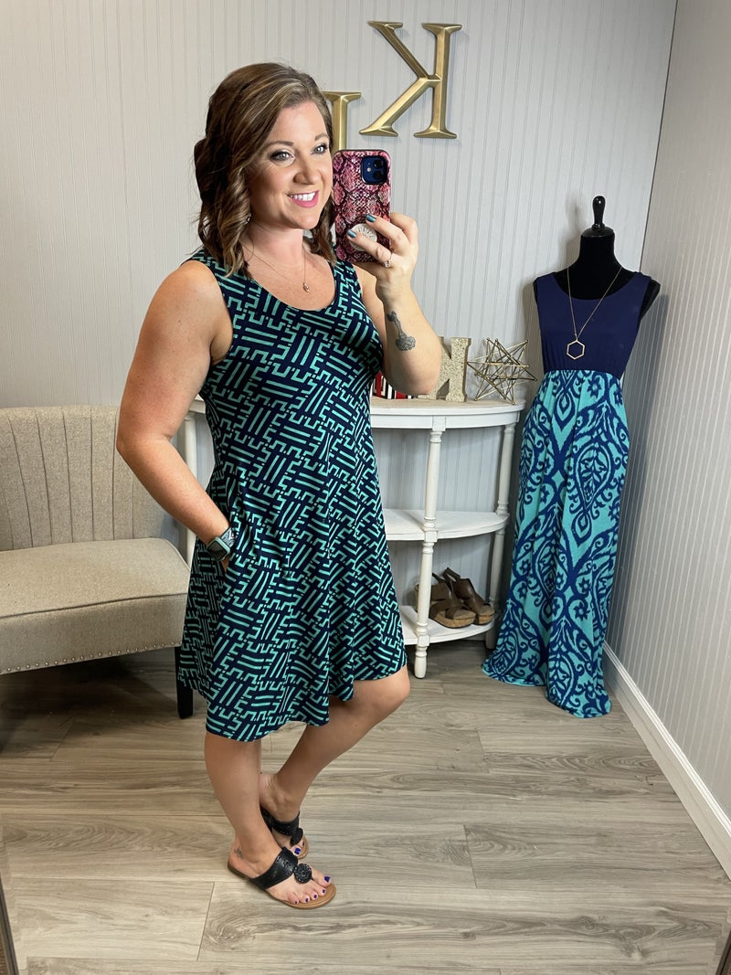 Navy Mint Geo Design Dress