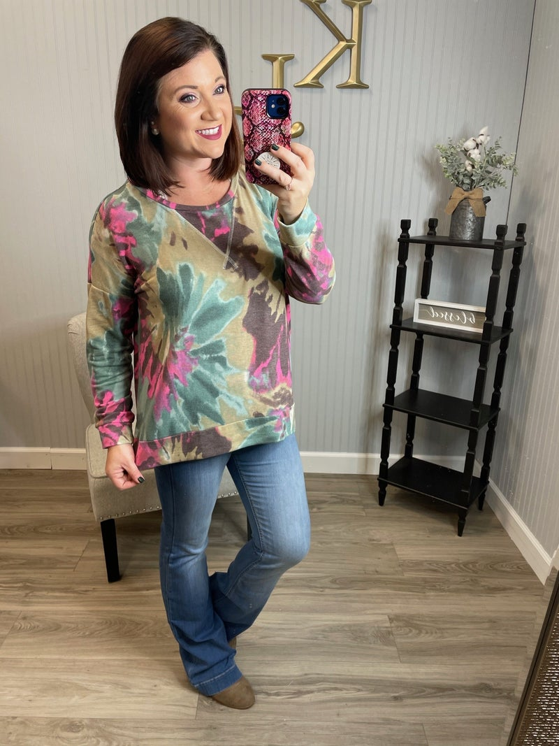SIL Mocha Painted Floral Top