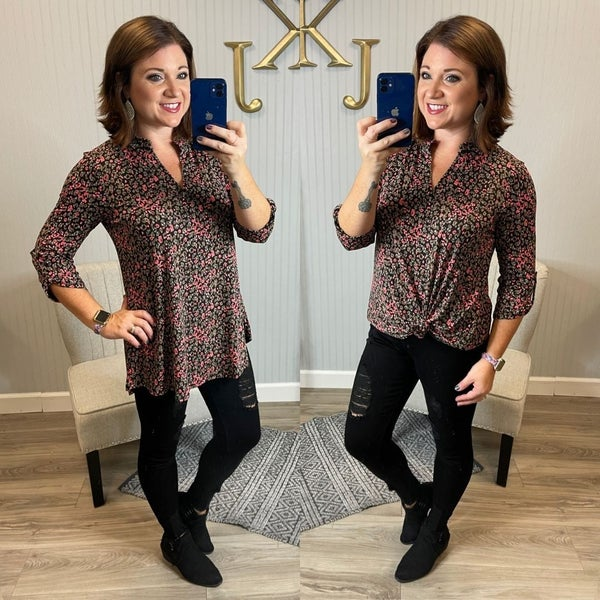 SIL Black Taupe Coral Little Leopard Gabby Top