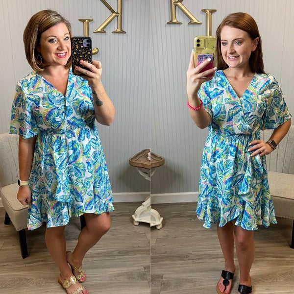 Turquoise Leaf Tropical Dress