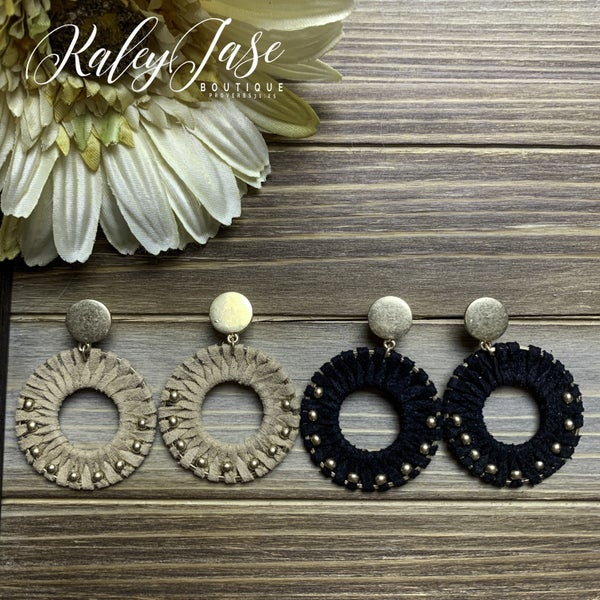 Small Suede Wrapped Medallion Studded Earrings -E1