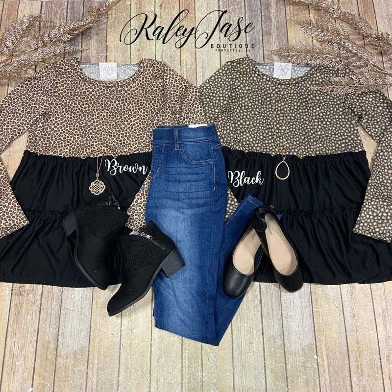 SIL Leopard Tiered Ruffle Top
