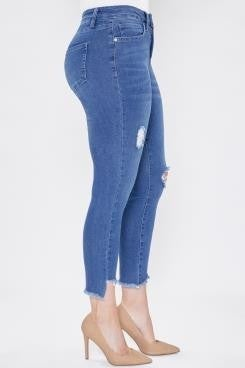 Royalty Curvy Distressed Bottom Jeans