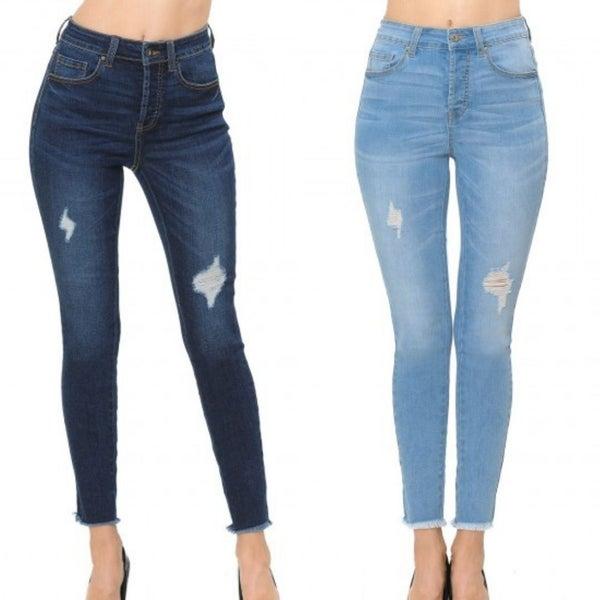 WX Distressed Frey Hem Skinny Jeans