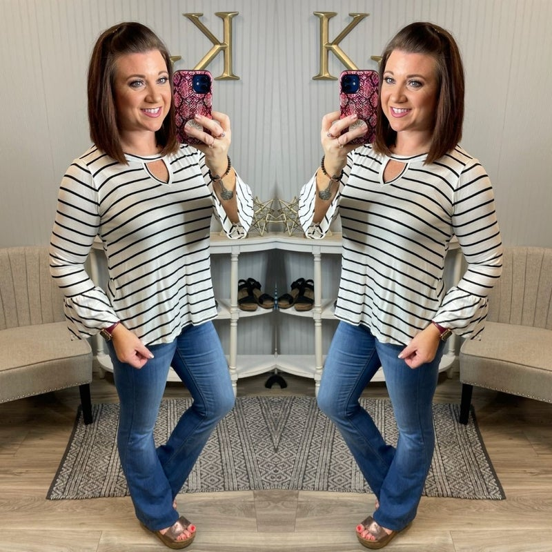 Striped Keyhole Bell Sleeve Top