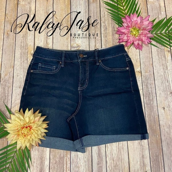 Royalty Dark Wash Tummy Control High Rise Shorts