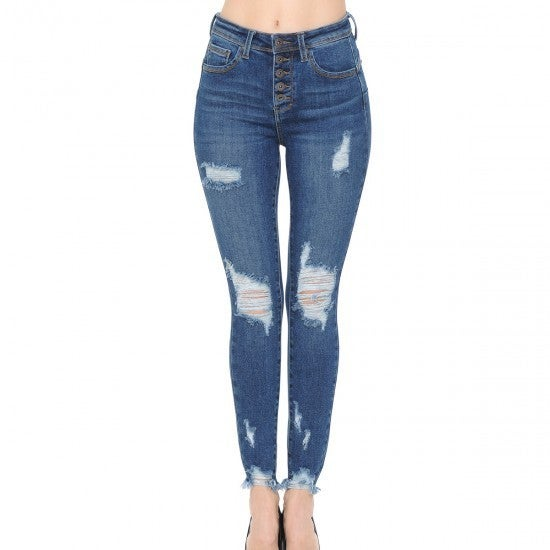 WX Distressed Button Front Frey Ankle Jeans