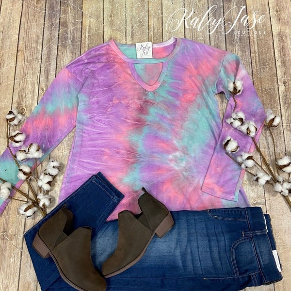 Teal Keyhole Tie Dye LS Top *Final Sale*