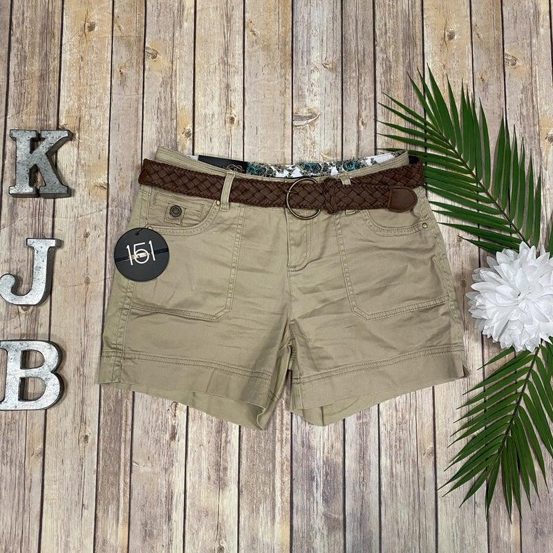 One5One Khaki Belted Shorts