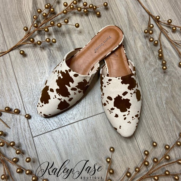 Cow Printed Mules