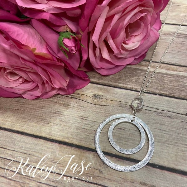 Silver Jewel Inner Circle Pendant Necklace #10