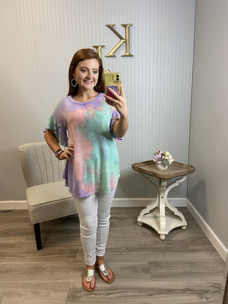 Mint Tie Dye Tulip  Sleeve Top