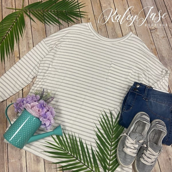 Grey White Stripe Knit LS Pocket Top
