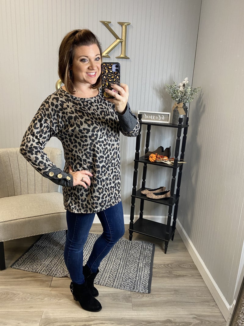Charcoal Leopard Button Cuff Sleeve