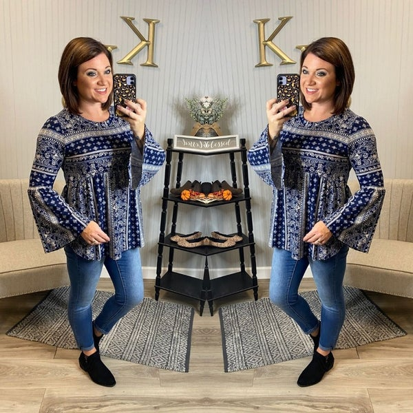 SIL Navy Taupe Design Bell Sleeve Top
