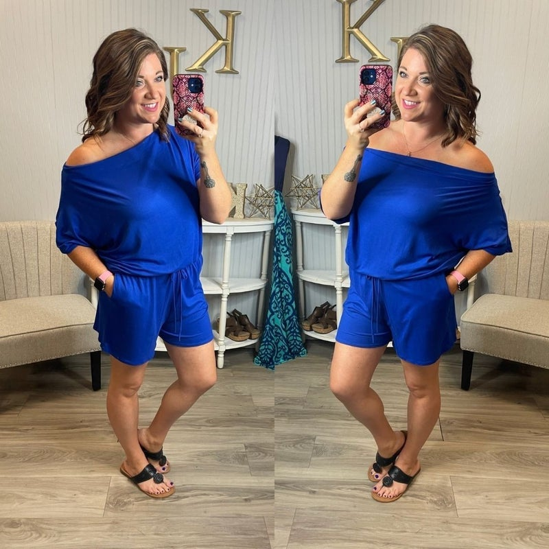 Solid Royal Slouchy Romper