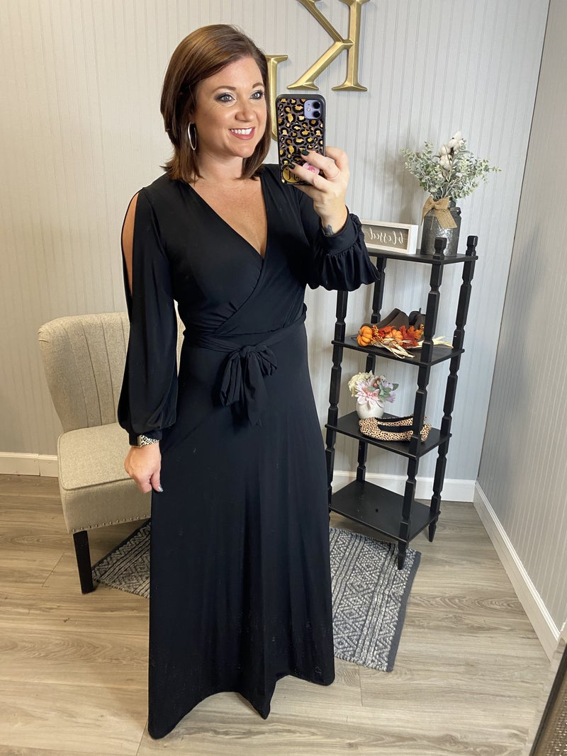 John 3:16 Black Wrap Slit Sleeve Maxi