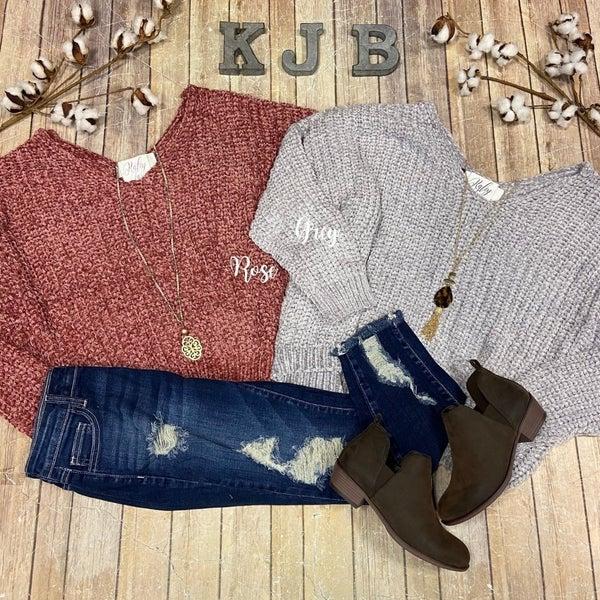 Chenille Vneck Sweater