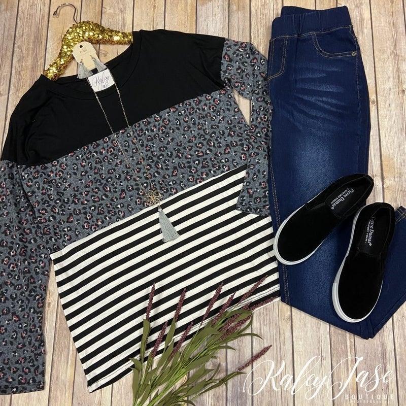 SIL Leopard Stripe Colorblock Top *Final Sale*