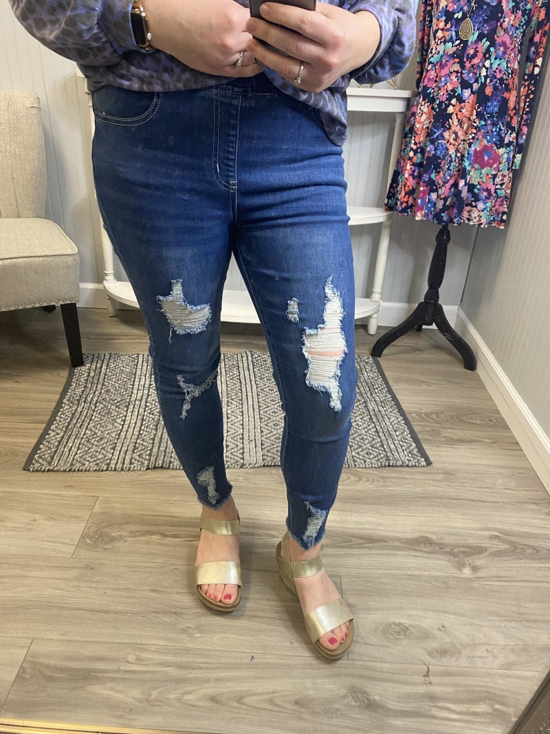 YMI Medium Wash Ripped Jogger Pull On Jeans