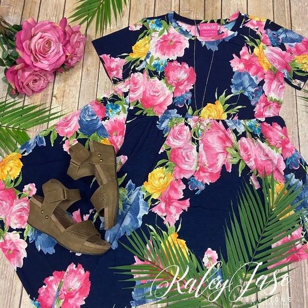Navy Floral Garden Maxi