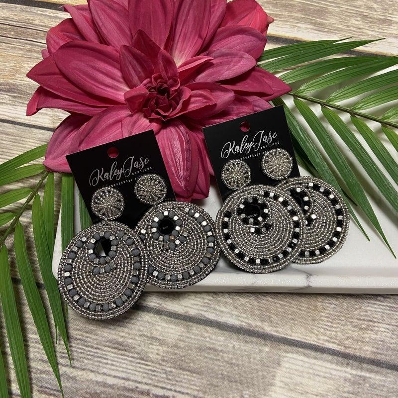 Dressy Beaded Circle Design Earrings
