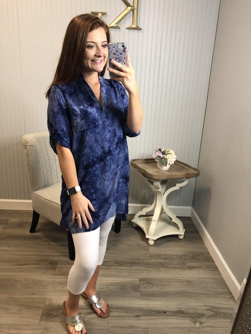 Blue Pocket Tie Dye Tunic