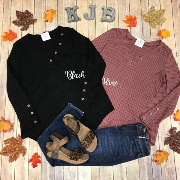 Waffle Sweater Button Vneck