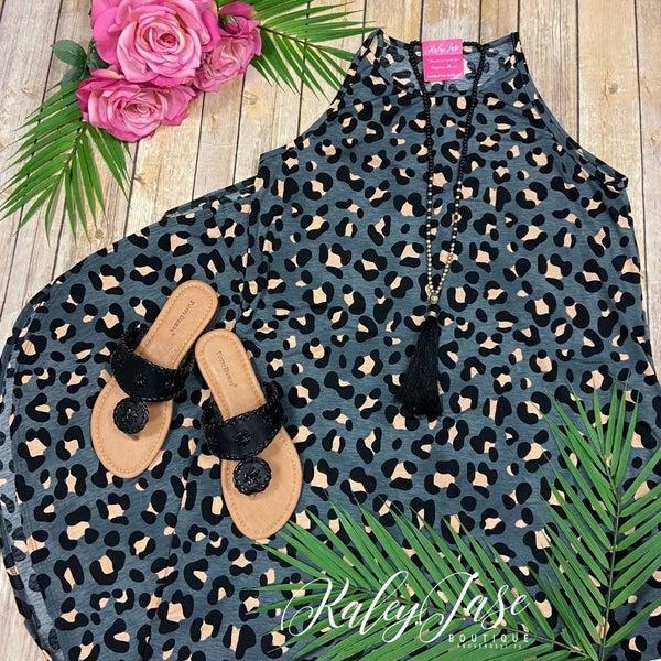 Charcoal Leopard Halter Maxi
