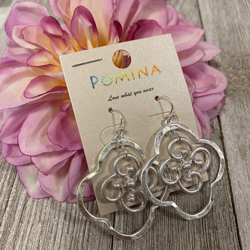 Silver Inner Clover Design Earrings