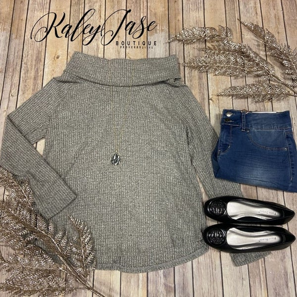 SIL Grey Super Soft Knit Cowl Neck Top *Final Sale*