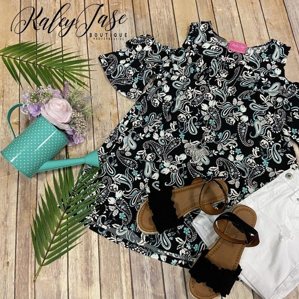 Black Paisley Ruffle Cold Shoulder Top