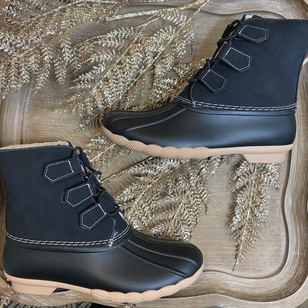 Black Elastic Cord Duck Boots